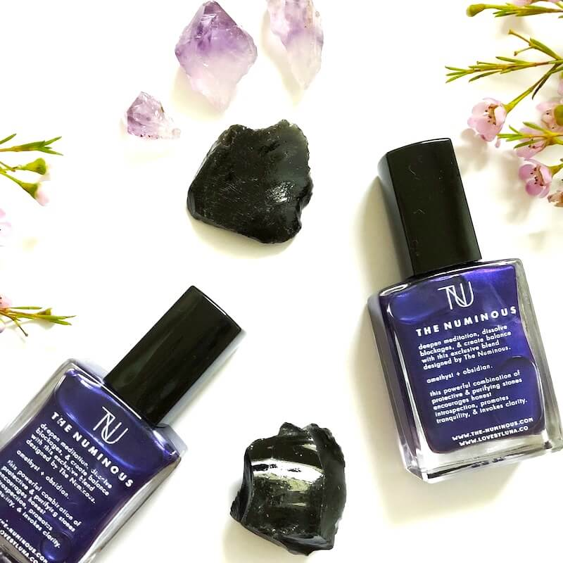 The Numinous Mystic Mani Love By Luna custom crystal polish amethyst sober curious